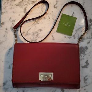 Kate Spade wine/burgundy crossbody clutch